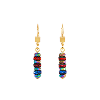 Earrings rhinestone & glass multicolour-gold