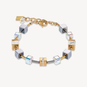 Bracelet GeoCUBE® Stainless steel & crystals pavé, Swarovski® Crystals & howlite gold-white