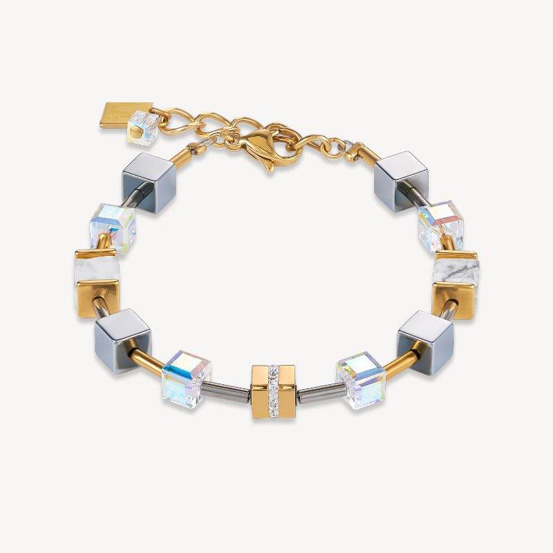 Coeur De Lion Bracelet GeoCUBE® Stainless steel & crystals pavé, Swarovski® Crystals & howlite gold-white