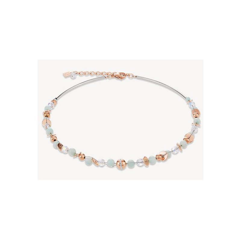 Coeur De Lion Necklace TwistedPEARLS Angelite & stainless steel rose gold mint green