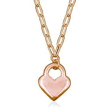 Rose Tone Heart Lock Necklace