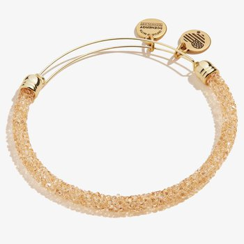 Crystal Fine Rocks Beaded Bangle, Gold