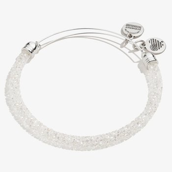 Crystal Fine Rocks Beaded Bangle, Clear