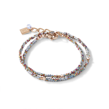 Bracelet small crystal rose gold & light blue