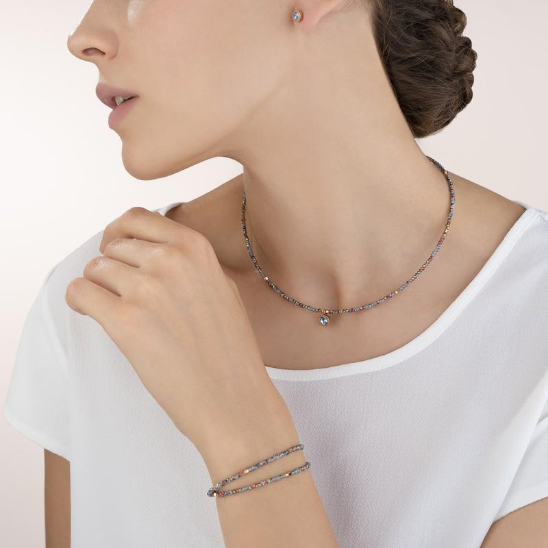 Coeur De Lion Bracelet small crystal rose gold & light blue