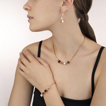 Necklace GeoCUBE® & chain black-white