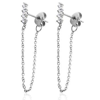 Silver CZ Bar Dangle Earring