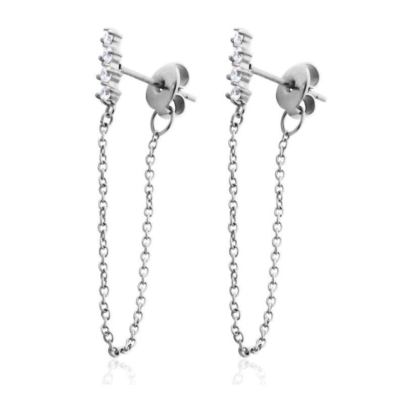 STEELX Silver CZ Bar Dangle Earring