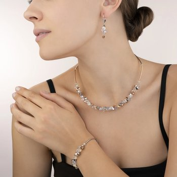 Bracelet Swarovski® Crystals & stainless steel rose gold-silver