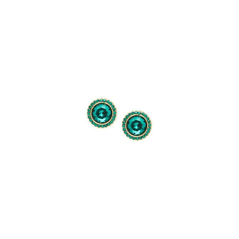 Fossil Round Gold-Tone Brass Green Galaxy Studs