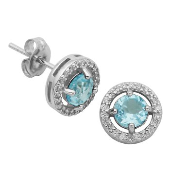Birthstone Halo Earrings- December
