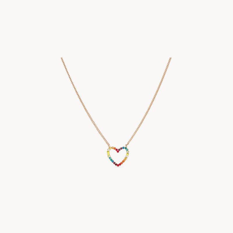 Fossil Rainbow Heart Necklace