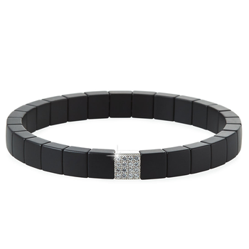 Scacco Diamond & Black Matte Ceramic Bracelet