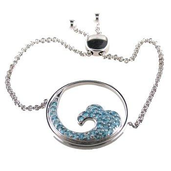 Blue Topaz Bolo Bracelet Sterling Silver