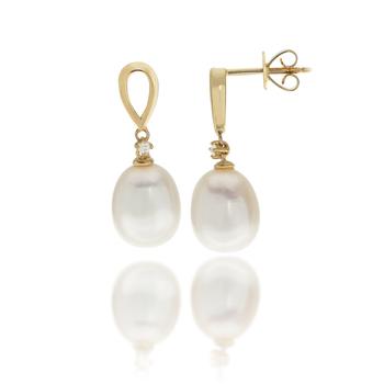 14K Yellow Gold, Pearl & Diamond Earrings