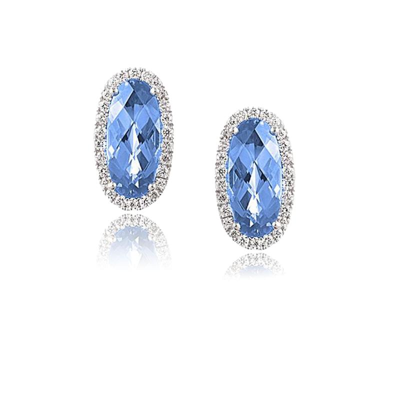 Chatham Chatham Aqua Spinel & Diamond Earrings