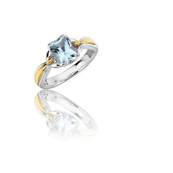 Sterling Silver & 18K Yellow Gold Aquamarine Ring