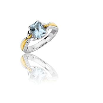 Sterling Silver & 18K Yellow Gold Aquamarine Ring