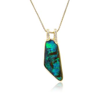 Boulder Opal Pendant 18K Yellow Gold