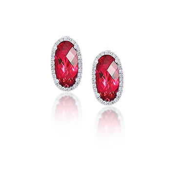 Chatham Ruby Diamond Earrings