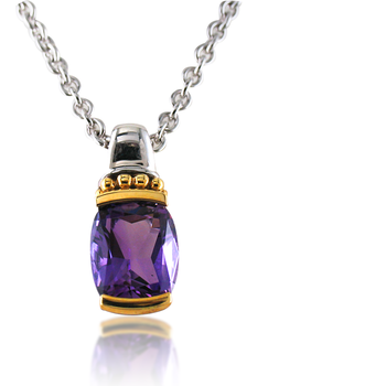Sterling Silver & 18K Yellow Gold Amethyst Pendant
