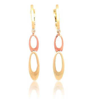 14K Rose & White Gold Drop Earrings