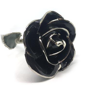 Black Lacquer Rose Trimmed in Platinum