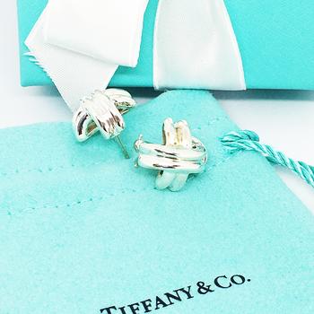 Vintage Tiffany&Co X Earrings Sterling Silver