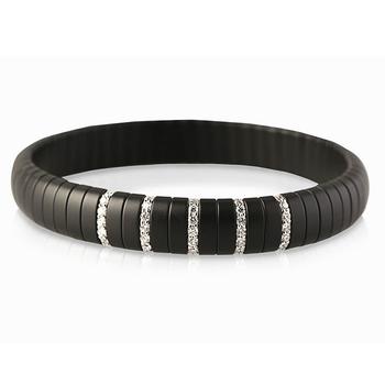 Pura Diamond (5) White Gold & Black Matte Ceramic Bracelet