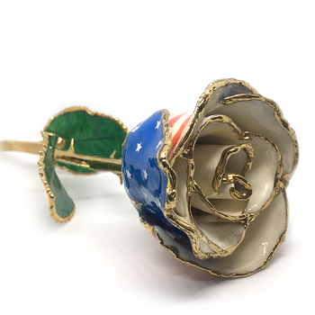 American-Flag Lacquer Rose Trimmed in 24K Gold