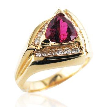 Rubellite & Diamond Ring