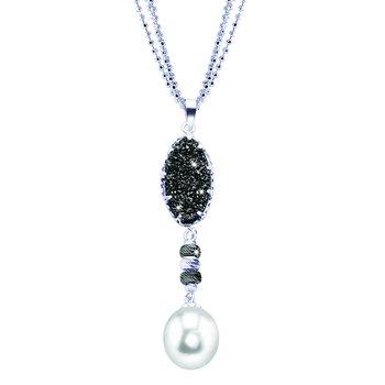 Sterling Silver Pearl & Black Druzy Quartz Pendant