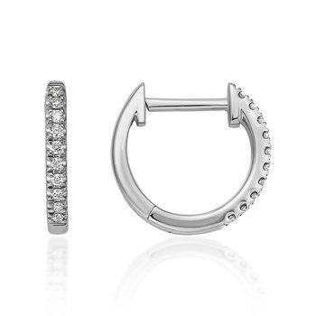 White Gold Diamond Huggy Hoop Earrings