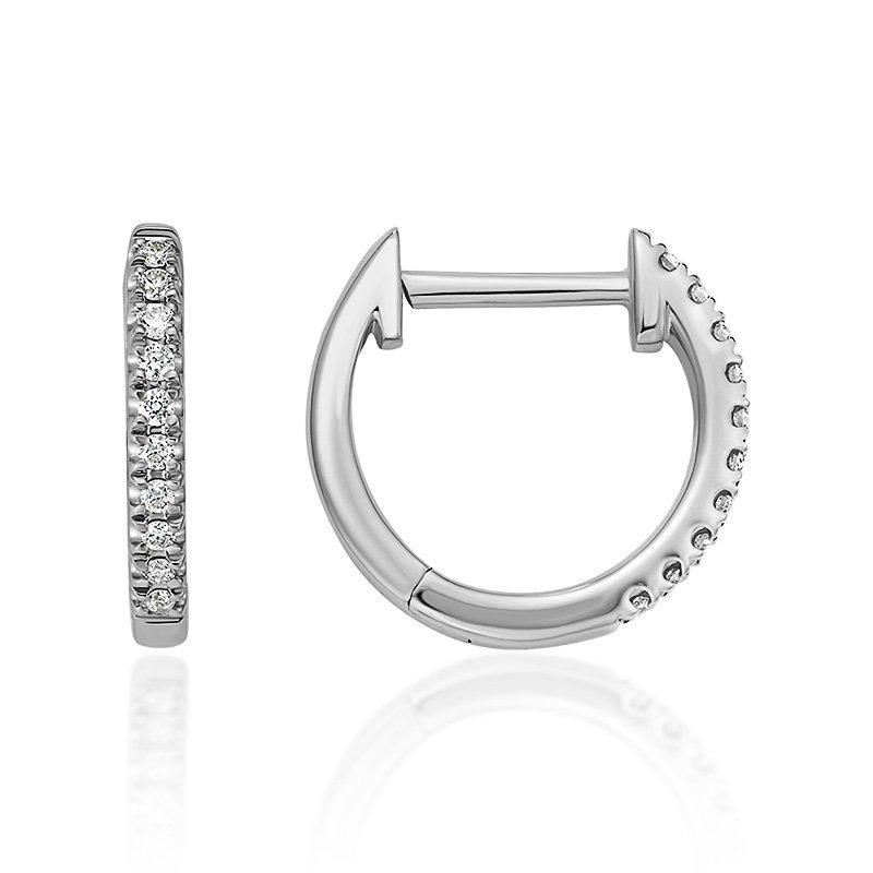 JC Sipe Couture White Gold Diamond Huggy Hoop Earrings
