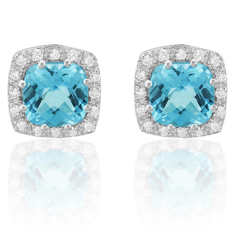 JC Sipe Couture Blue Topaz & Diamond Earrings