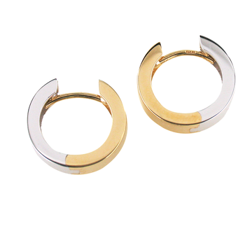 14K Two Tone Reversible Huggy Hoops
