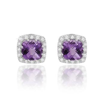 Amethyst & Diamond Earrings 14K Gold
