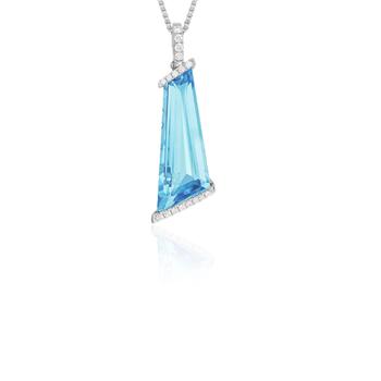 Blue Topaz & Diamond Pendant 14K White Gold