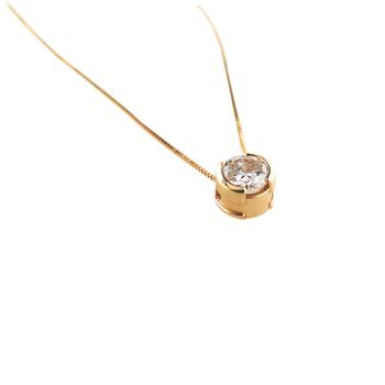 Diamond Solitaire Pendant 14K Yellow Gold