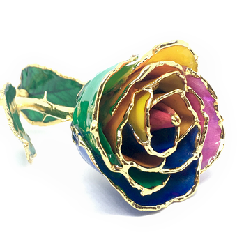 Rainbow Lacquer Rose Trimmed in 24K Gold