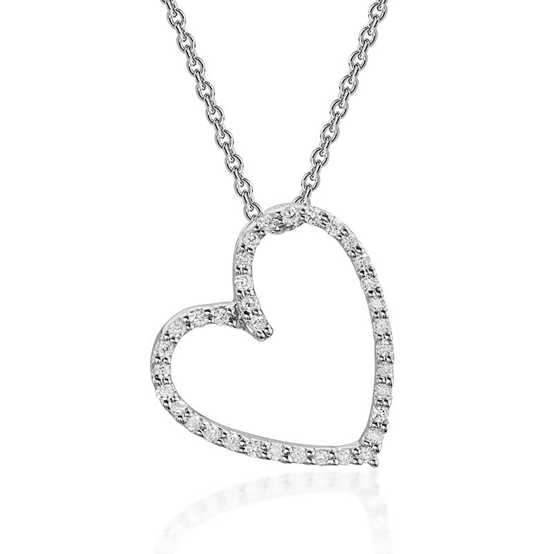 JC Sipe Couture White Gold Diamond Angled Heart Pendant