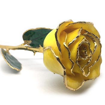Yellow Lacquer Rose Trimmed in Platinum
