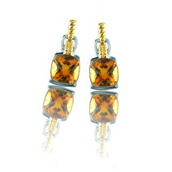 Sterling Silver & 18K Yellow Gold Citrine Earrings