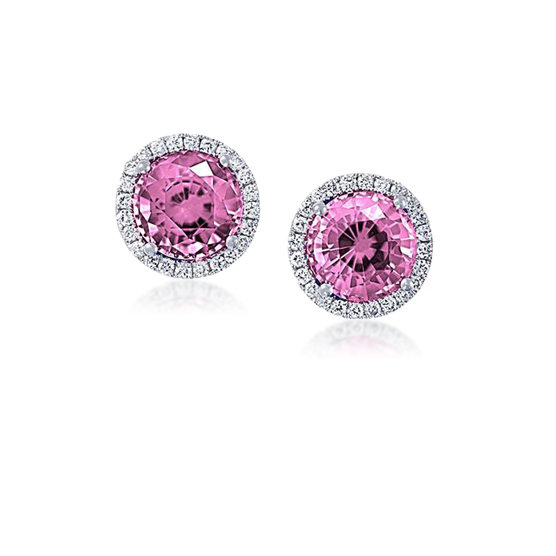 Chatham Chatham Pink Sapphire & Diamond Earrings
