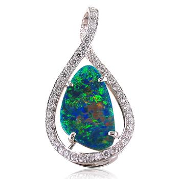Black Opal & Diamond Pendant