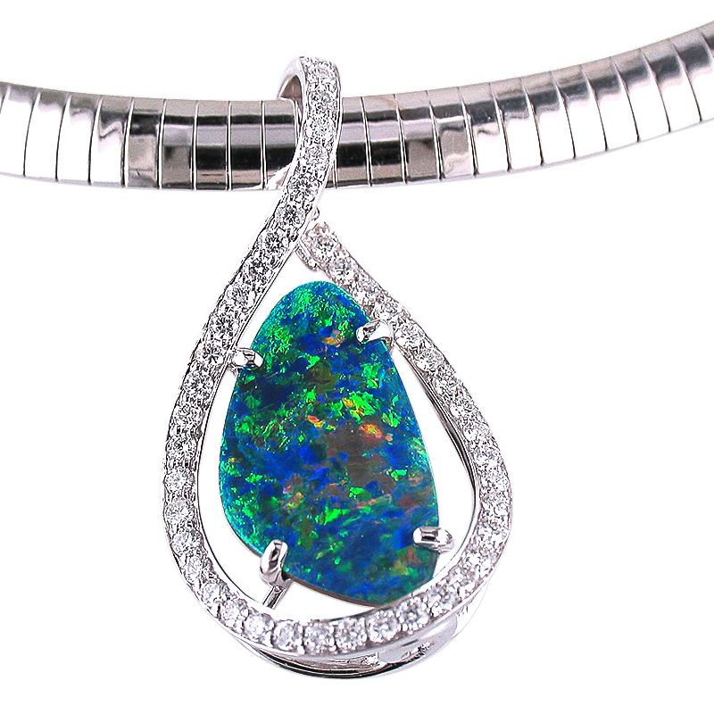 JC Sipe Couture Black Opal & Diamond Pendant
