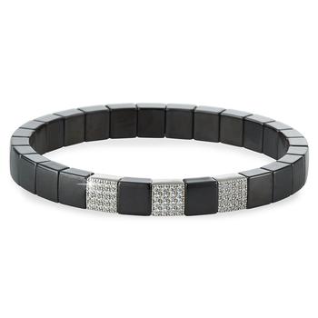 Scacco 3-Block Diamond & Black Matte Ceramic Bracelet