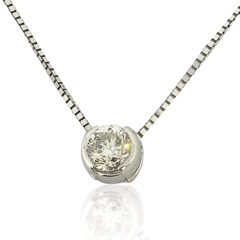Diamond Solitaire Pendant 14K White Gold