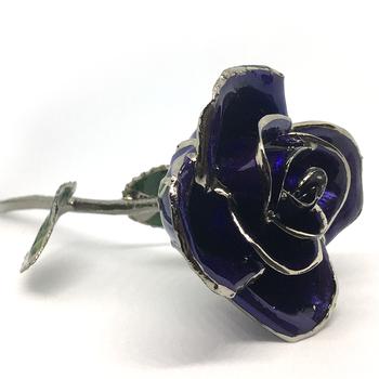 Dark Blue Lacquer Rose Trimmed in Platinum