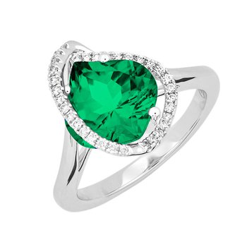 Created Emerald+Diamond Ring
